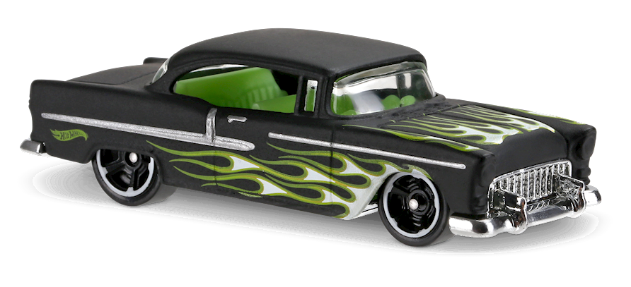 55 Chevy 174 In Black Hw Flames Car Collector Hot Wheels