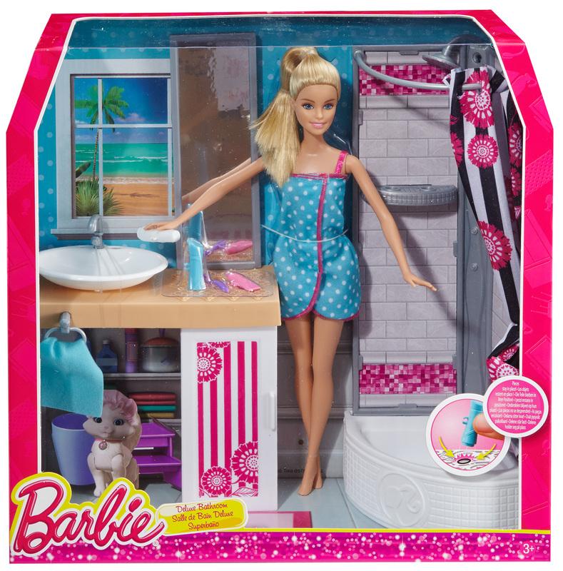 barbie doll and deluxe bathroom. Black Bedroom Furniture Sets. Home Design Ideas