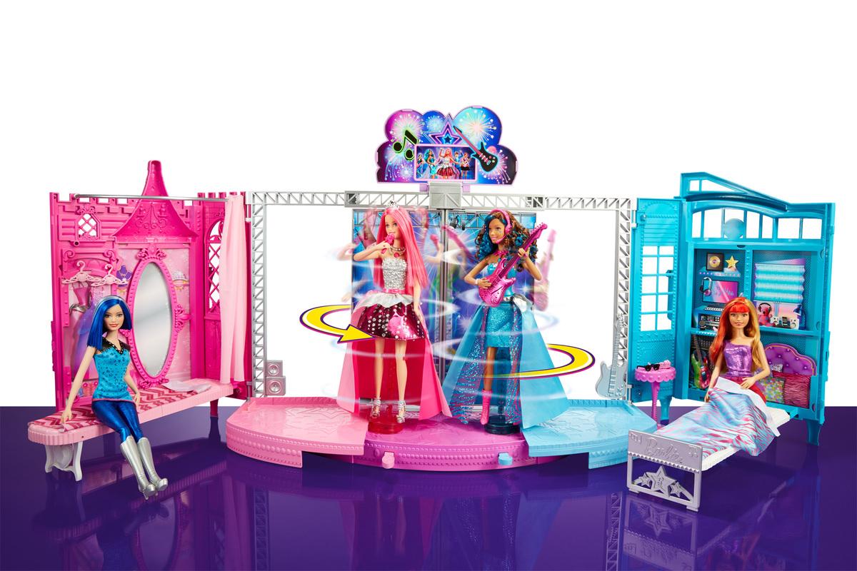 barbie rock n royals transforming stage playset