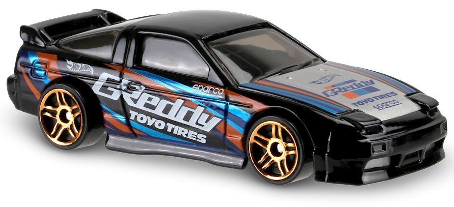 nissan 240sx s13 in black, hw speed graphics, car collector   hot wheels