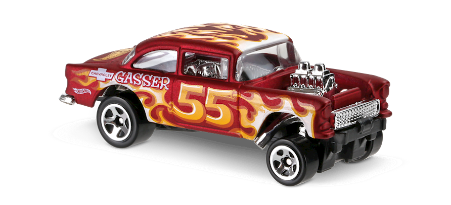55 Chevy Bel Air Gasser In Red Hw Flames Car Collector Hot Wheels