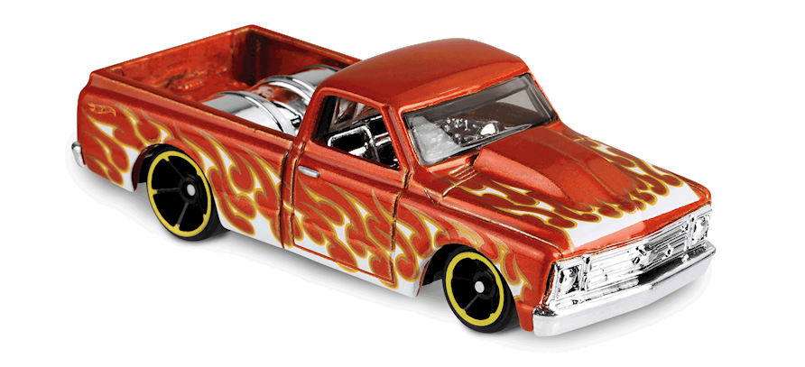 67 Chevy C10 In Orange Hw Flames Car Collector Hot Wheels