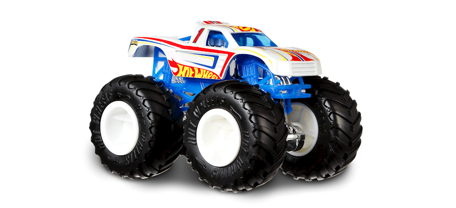 Hw Mt Hot Wheels Racing 1 In White Hot Wheels Monster Trucks Car Collector Hot Wheels