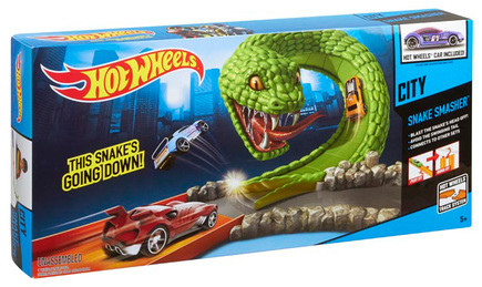 Hot Wheels City Snake Smasher Track Set Yellow Car