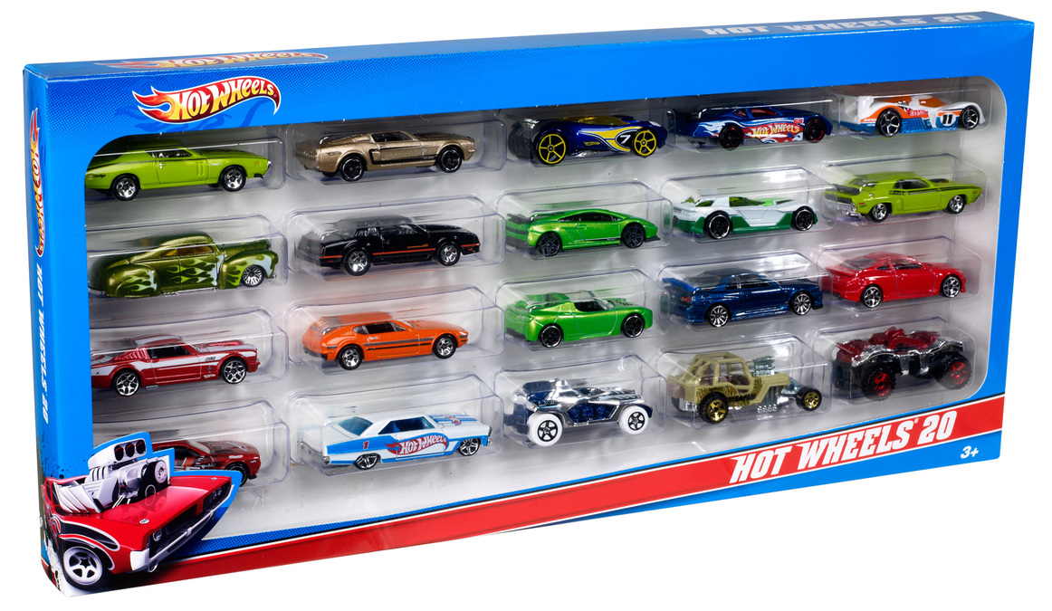 hot wheels 20 car pack shop hot wheels cars trucks. Black Bedroom Furniture Sets. Home Design Ideas